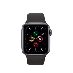 Apple Watch Series 5 GPS + Cellular, 40mm Space Grey Aluminium Case with Black Sport Band - S/M & M/L