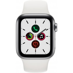 Apple Watch Series 5 GPS + Cellular, 40mm Stainless Steel Case with White Sport Band - S/M & M/L