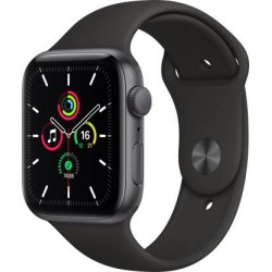 Apple Watch SE GPS 44 mm Space Grey Aluminium Case with Black Sport Band (Black Strap, Regular)